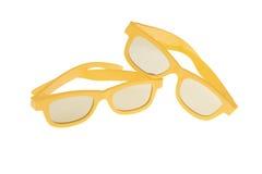 2 желтых трехмерных стекла кино Стоковое Изображение