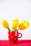 3 желтых тюльпана в красной чашке Стоковые Фотографии RF