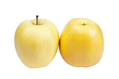 2 желтых яблока Стоковые Изображения