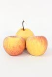 Желт-красное яблоко на белой предпосылке Стоковые Фото