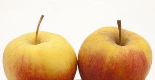 2 желт-красное Яблоко Стоковое Фото