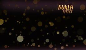 Живая накаляя предпосылка Золотые влияния Bokeh иллюстрация штока