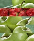 Живое покрашенное зеленое яблоко и клубники Стоковая Фотография
