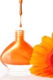 Живой красочный оранжевый лак для ногтей Стоковые Фотографии RF