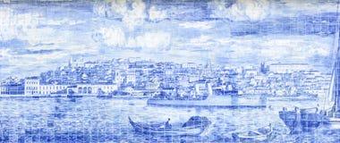 Живописание Лиссабона с характеристиками плитки стоковое фото