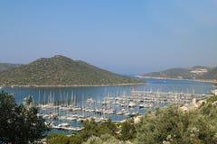 Живописная Марина с яхтами в среднеземноморском Стоковые Изображения