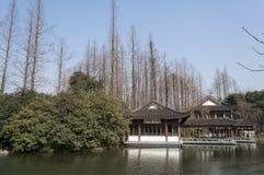 Живописная местность озера Ханчжоу западная Стоковые Изображения RF