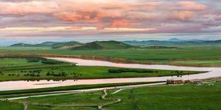 Живописная местность Tangke-huanghe на зоре Стоковые Фото