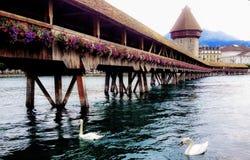 Живописная сцена летнего дня традиционного моста Kapellbrucke часовни и водонапорной башни Wasserturm с лебедями и отражением Стоковые Изображения