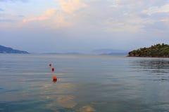 Живописное Ionian море на заходе солнца Стоковое Изображение RF