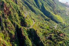 Живописные и величественные зеленые горы Мадейры, Португалии Стоковая Фотография RF