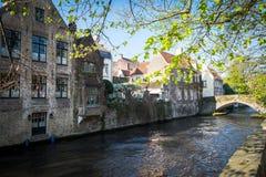 Живописные каналы Брюгге Brugge Стоковые Изображения RF