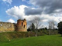 Живописные руины замка Vastseliina в солнечном дне Историческое и туристское место в Vorumaa, Эстонии стоковые фотографии rf