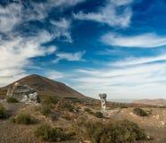 Живописный взгляд пустыни Lanzarotte с скалами Стоковые Фотографии RF