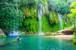 Живописный водопад Kursunlu, Aksu, Турция Стоковая Фотография RF