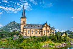 Живописный собор Lofoten на островах Lofoten в Норвегии Стоковые Изображения