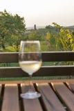 Живописный среднеземноморской взгляд с бокалом вина на деревянном столе Стоковые Фотографии RF