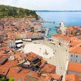 Живописный старый городок Piran, Словения Стоковая Фотография RF