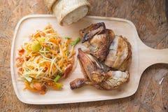 Животик сома тайский с липким рисом и зажаренным цыпленком Стоковые Изображения