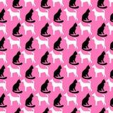 Животная безшовная картина вектора кота и собаки Стоковые Изображения