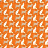 Животная безшовная картина вектора кота и собаки Стоковое Изображение