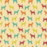 Животная безшовная картина вектора силуэтов собаки Стоковые Фото