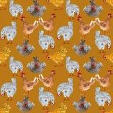 Животная безшовная картина с цыпленком и петухом Нарисованная вручную иллюстрация акварели, идеальная для печати на ткани, упаков иллюстрация штока
