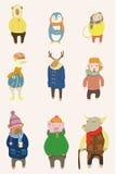 животная зима шаржа иллюстрация штока
