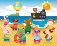 животная партия пляжа Стоковые Фото