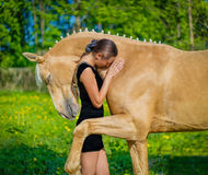 животная персона лошади девушки приятельства стоковая фотография