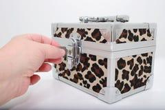 животная печать замка коробки стоковое изображение rf