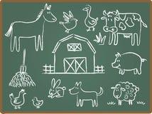 животная ферма chalkboard Стоковая Фотография RF