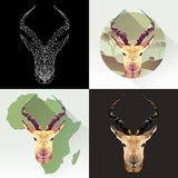 Животное вектора установленное для татуировки, расцветки, обоев, плаката и печатания на футболках Изображение конспекта антилопы  Стоковые Изображения RF