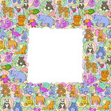 Животное забавляется безшовная картина рамки Стоковое Изображение