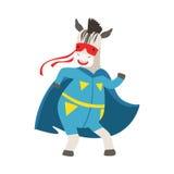 Животное зебры одетое как супергерой с характером Виджиленти накидки шуточным замаскированным иллюстрация вектора