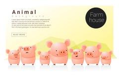 Животное знамя с свиньями для веб-дизайна иллюстрация вектора