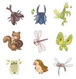 животное лето иконы шаржа иллюстрация штока