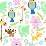 Животное Doodles безшовная предпосылка Стоковые Изображения