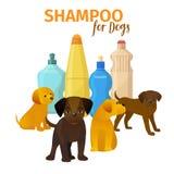 Животное illustraion вектора салона холить Плакат гигиены волос собаки Знамя концепции зоомагазина Различные щенята на бутылках иллюстрация штока