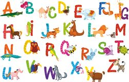 животные алфавита иллюстрация штока