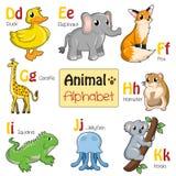 Животные алфавита от d к k Стоковые Изображения