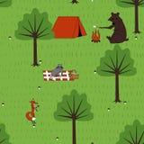 Животные безшовной картины располагаясь лагерем Стоковые Изображения