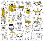 Животные битника Doodle милые иллюстрация штока