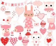 Животные валентинки и элементы дизайна Иллюстрация вектора
