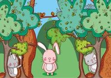 Животные в шаржах doodle леса Стоковое Изображение