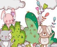 Животные в шаржах doodle леса Стоковые Фотографии RF
