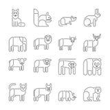 Животные значки, тонкая линия стиль, плоский дизайн иллюстрация штока