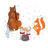 Животные играя музыкальные инструменты Стоковая Фотография