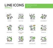 Животные - линия установленные значки дизайна иллюстрация вектора