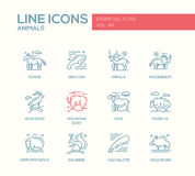 Животные - линия установленные значки дизайна бесплатная иллюстрация